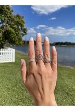 14K White Gold 4 Row Diamond Chevron Fashion Ring, D: 0.79ct