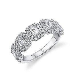 14K W/G Emerald Cut Halo Diamond Ring