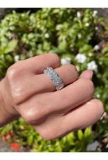 14K White Gold Emerald Cut Halo Diamond Ring, D: 1.66ct