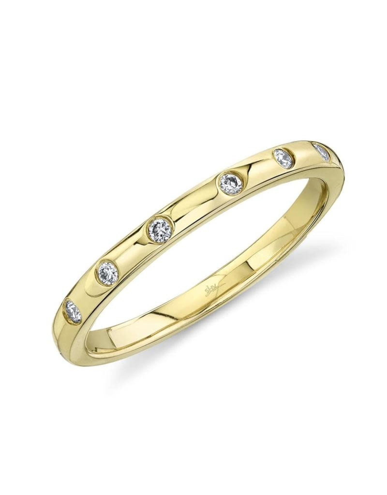14K Yellow Gold Diamond Stackable Band, D: 0.07ct