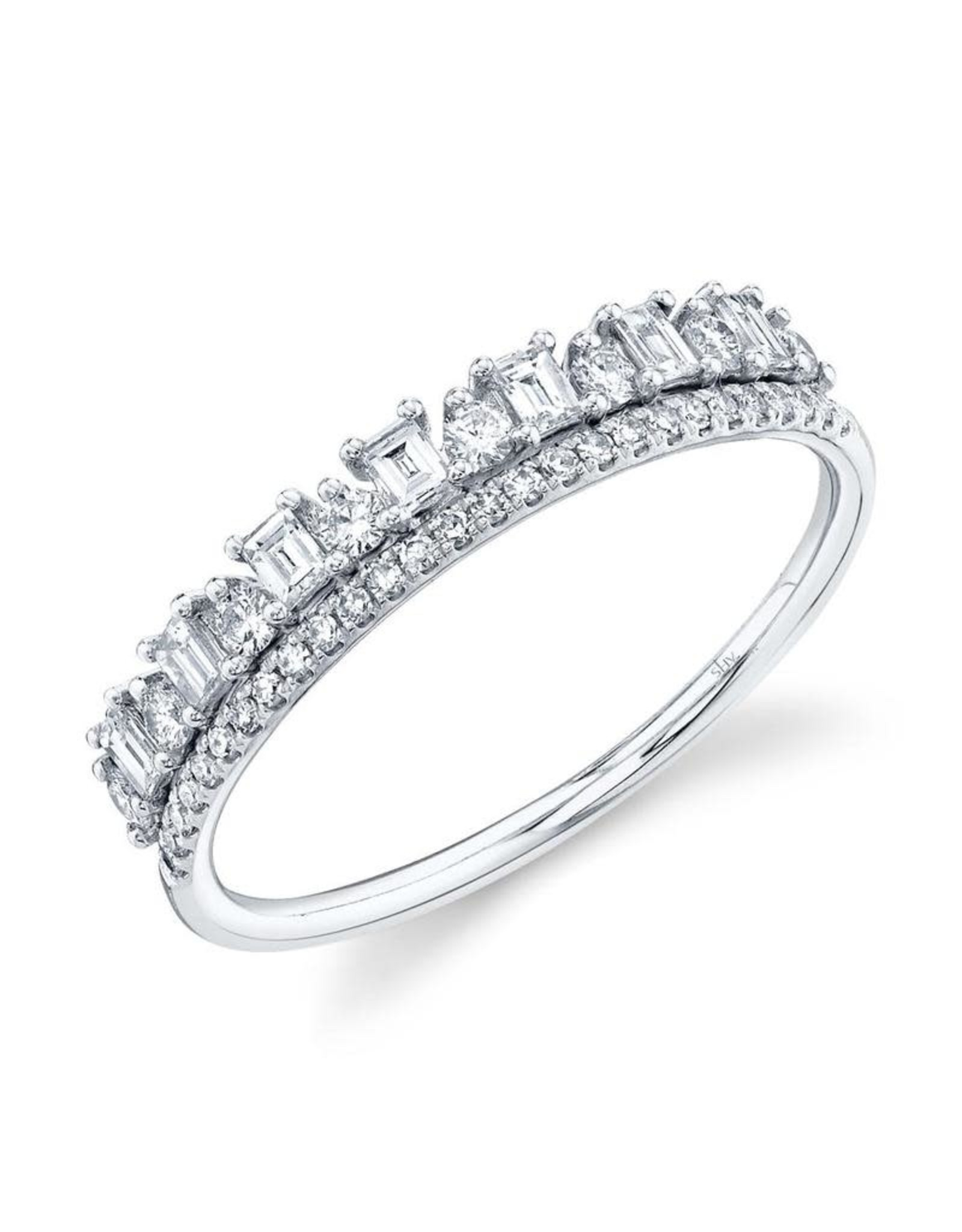 14K White Gold Double Stackable Ring with Baguettes and Round Diamonds, D: 0.44cts