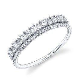 14K W/G Double Stackable Ring with Baguettes and Round Diamonds