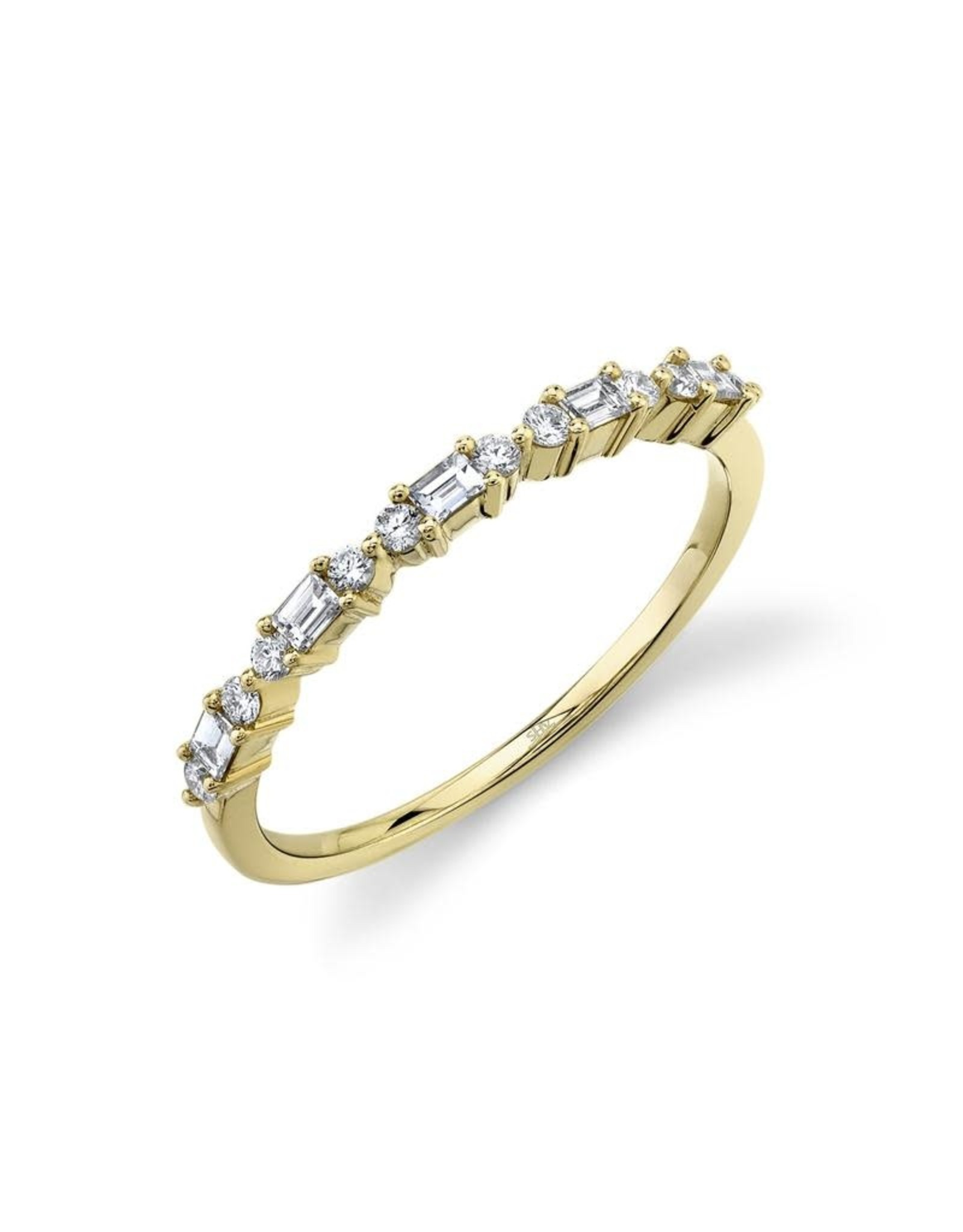 14K Yellow Gold Alternating Baguette and Round Stackable Ring, D: 0.25ct