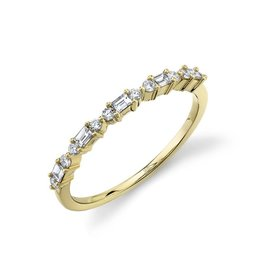 14K Y/G Alternating Baguette and Round Stackable Ring, D: 0.25ct