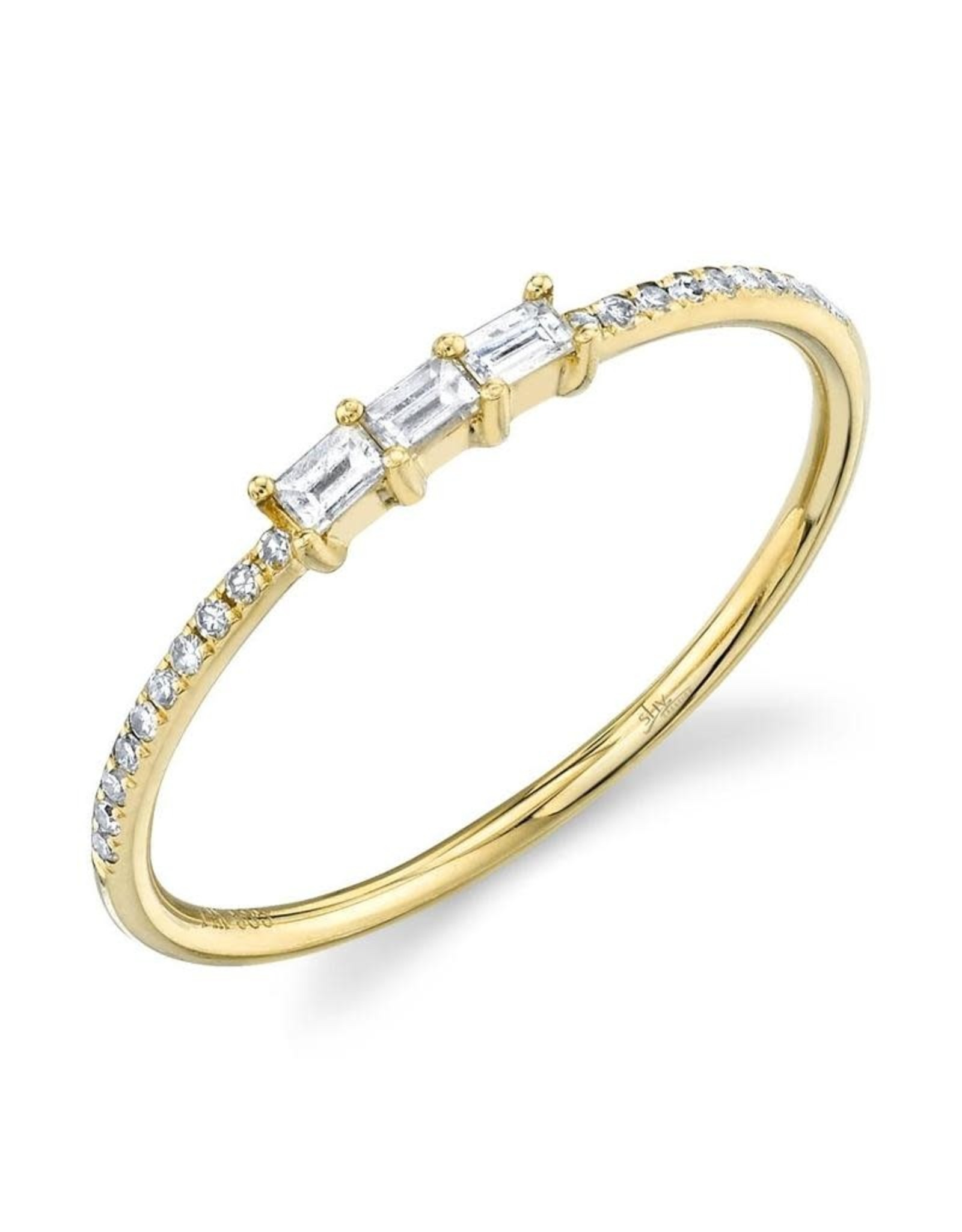 14K Yellow Gold Stackable Baguette Diamond Ring, D: 0.19ct