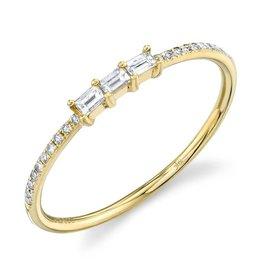 14K Y/G Stackable Baguette Diamond Ring