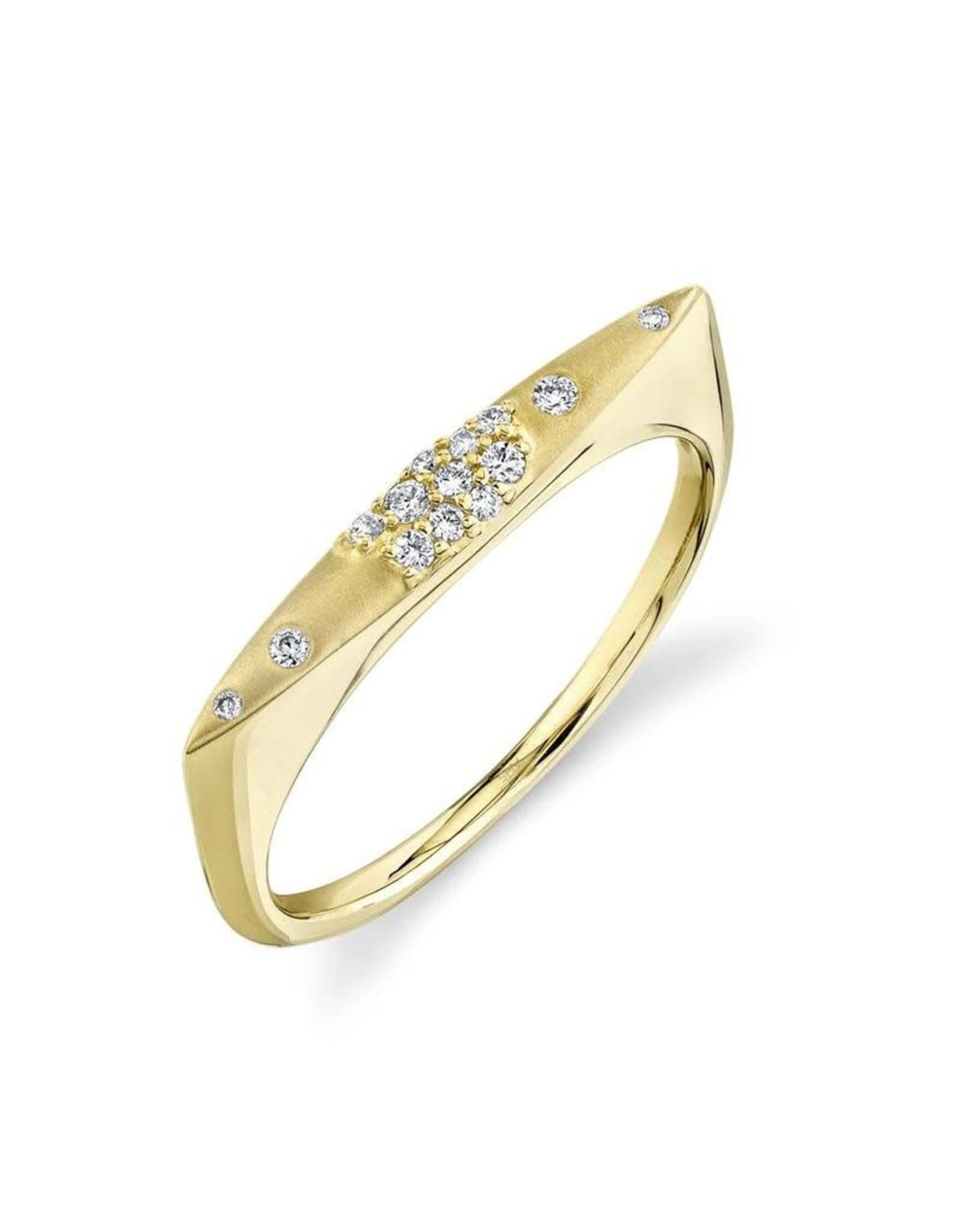 14K Yellow Gold Matte Finish Stackable Diamond Bar Ring, D: 0.09ct