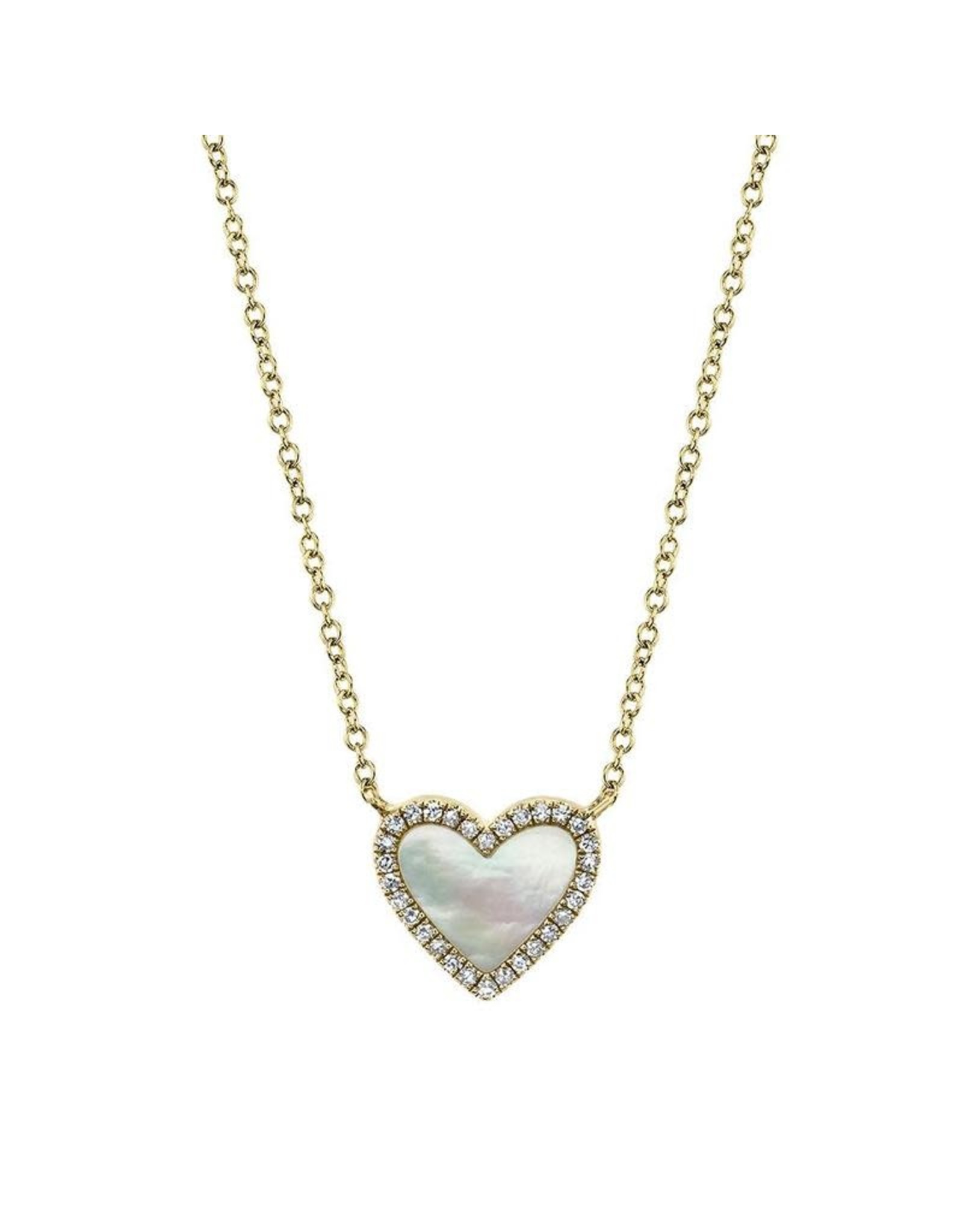 14K Yellow Gold Mother of Pearl and Diamond Heart Necklace, MOP: 0.56ct, D: 0.09ct