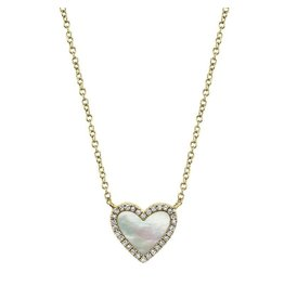 14K Y/G Mother of Pearl and Diamond Heart Necklace