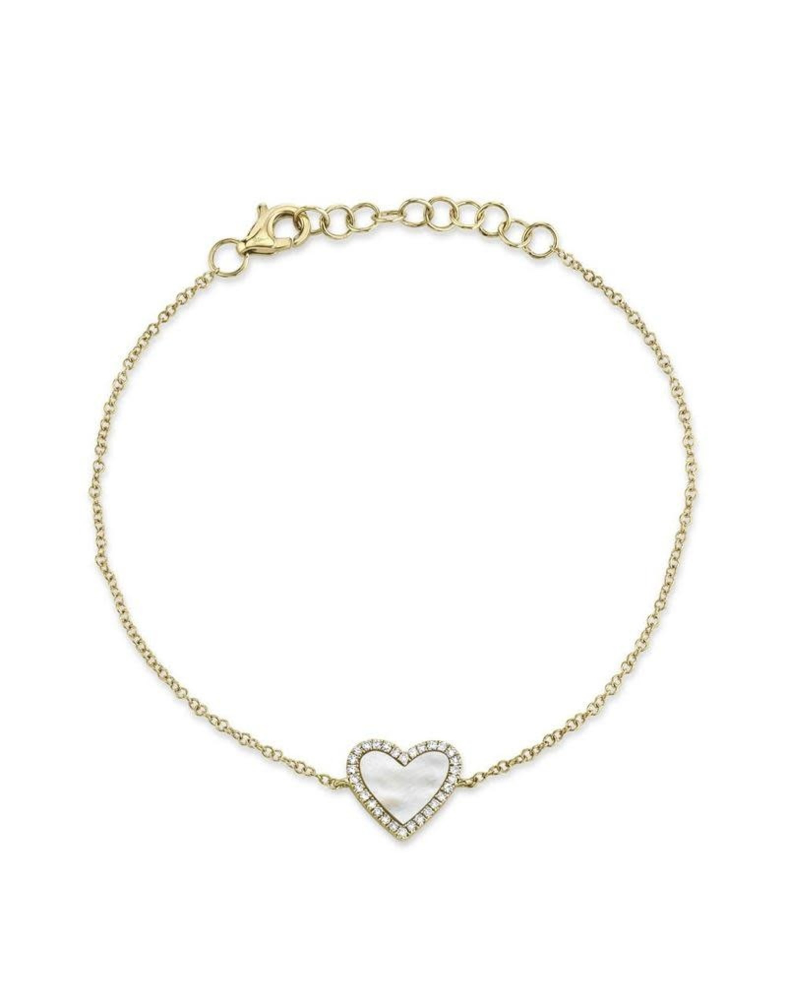 14K Yellow Gold Mother of Pearl and Diamond Heart Bracelet, MOP: 0.56ct, D: 0.09ct