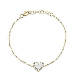14K Y/G Mother of Pearl and Diamond Heart Bracelet