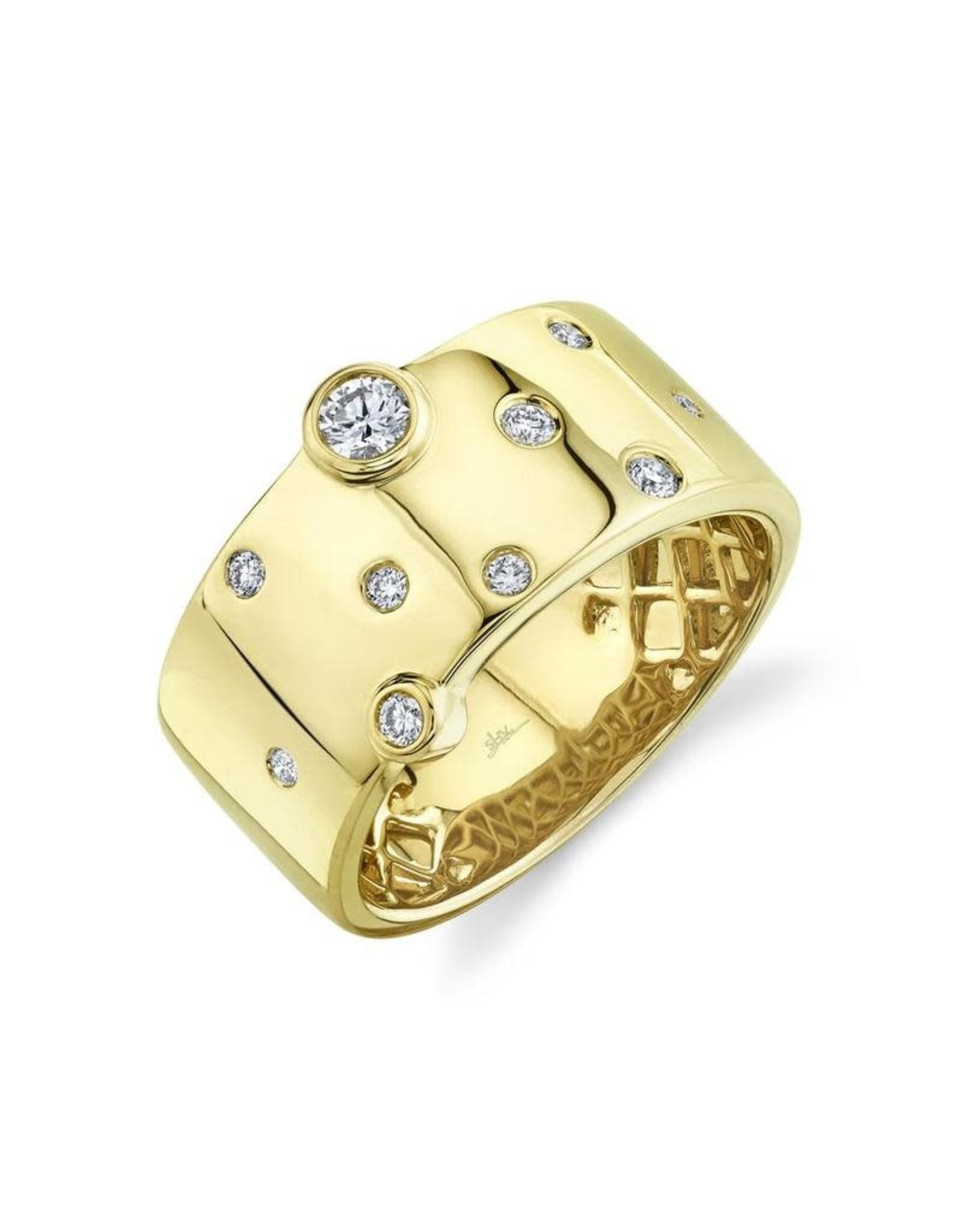 14K Yellow Gold Wide Bezel Set Diamond Fashion Ring, D: 0.26ct
