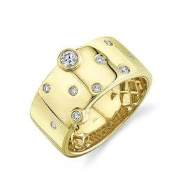 14K Y/G Wide Bezel Set Diamond Fashion Ring
