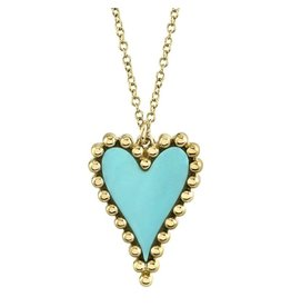 14K Y/G Turquoise and Bubble Bezel Heart Necklace