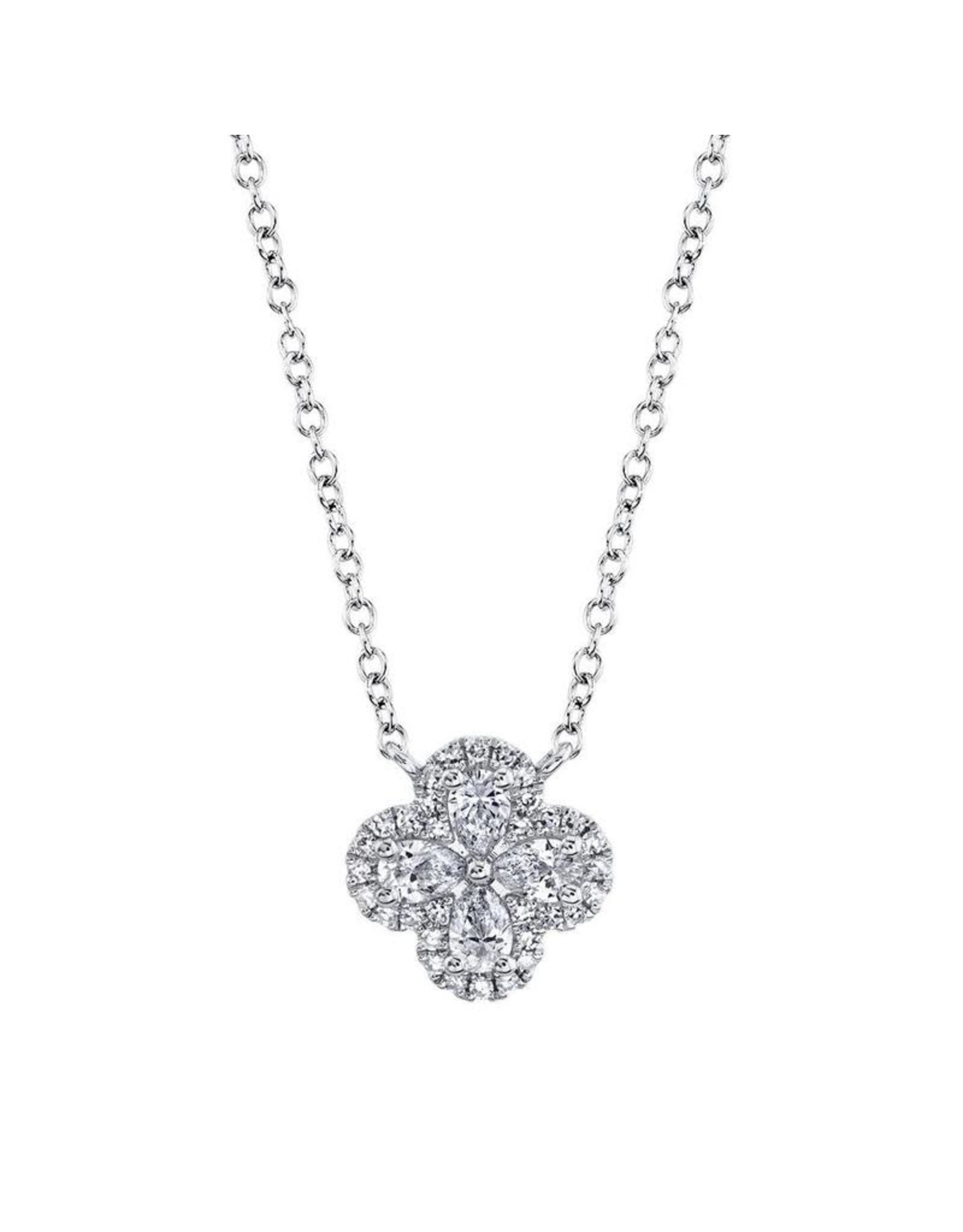 14K White Gold Diamond Clover Necklace, D: 0.41ct