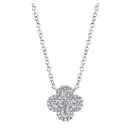 14K W/G Diamond Clover Necklace