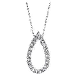 14K W/G Diamond Open Tear Drop Necklace
