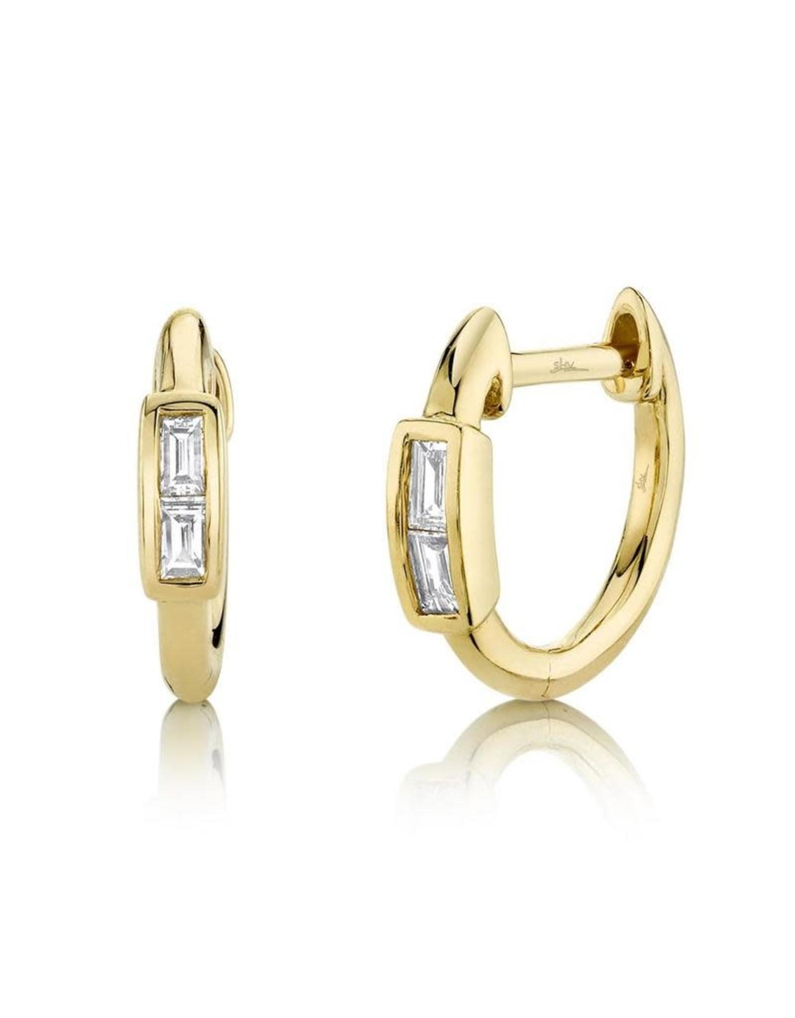 14K Yellow Gold Baguette Huggie Earrings, D: 0.10ct