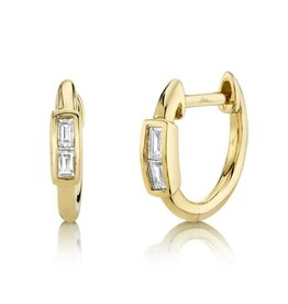14K Y/G Baguette Huggie Earrings