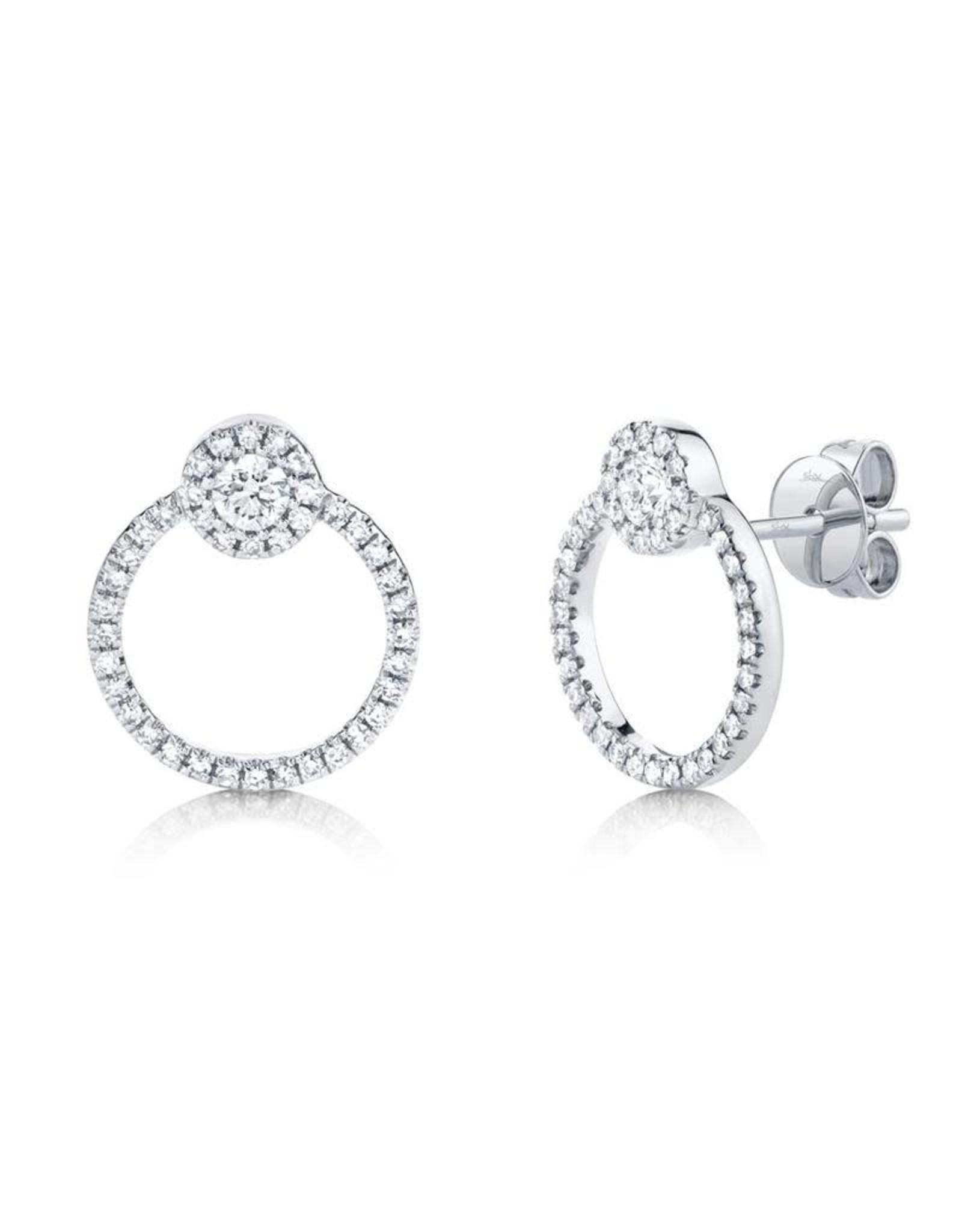 14K White Gold Modern Diamond Doorknocker Stud Earrings, D: 0.39ct