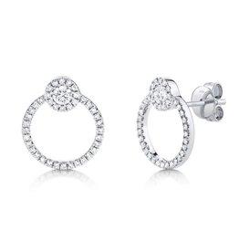 14K W/G Modern Diamond Doorknocker Stud Earrings