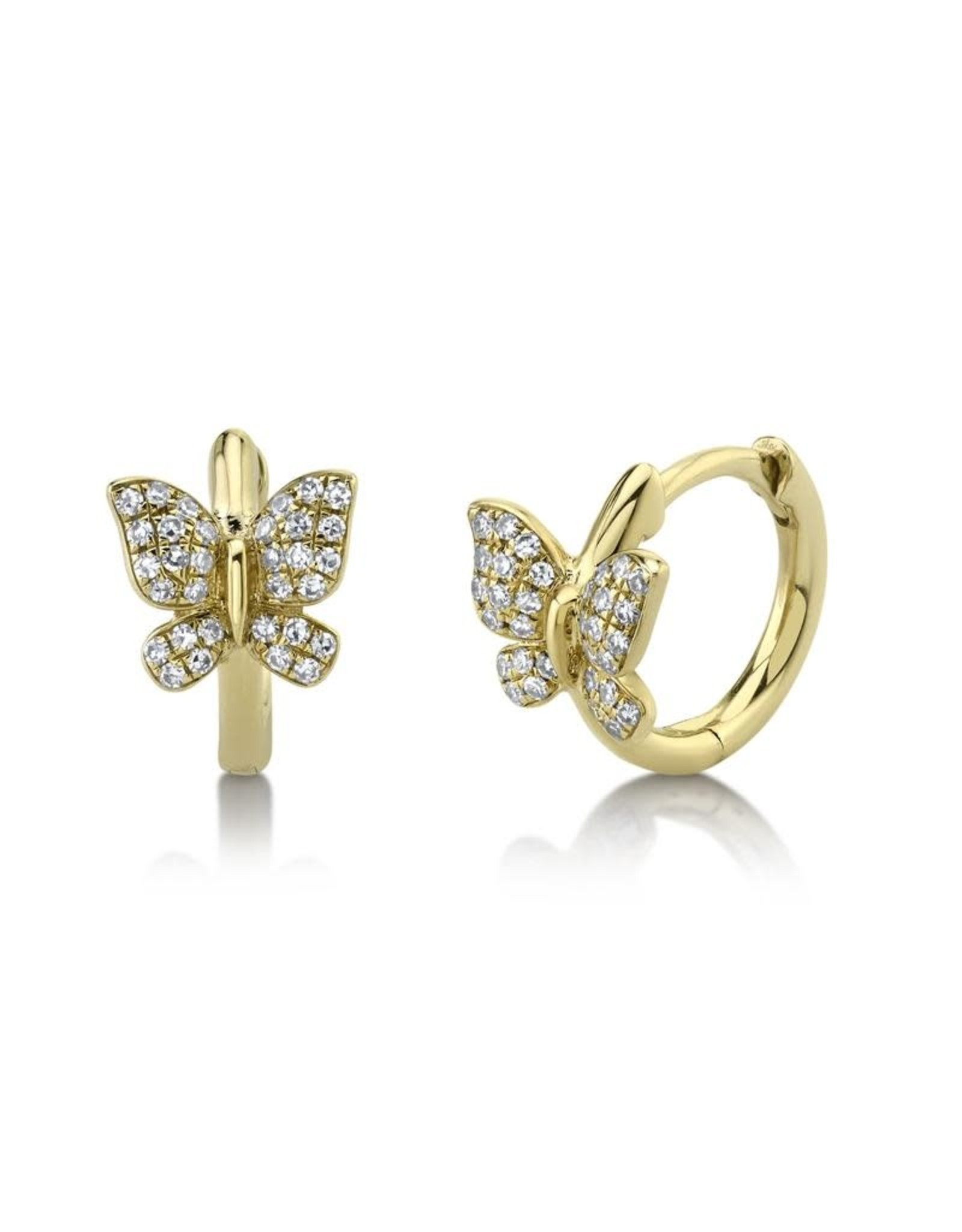14K Yellow Gold Diamond Butterfly Huggies, D: 0.14ct