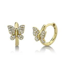 14K Y/G Diamond Butterfly Huggies