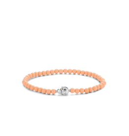 Dainty Coral Pink Beaded Bracelet