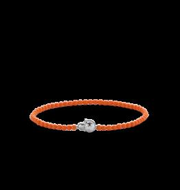 Dainty Coral Orange Beaded Bracelet