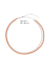 Coral Orange Beaded Necklace- 3962CO/42