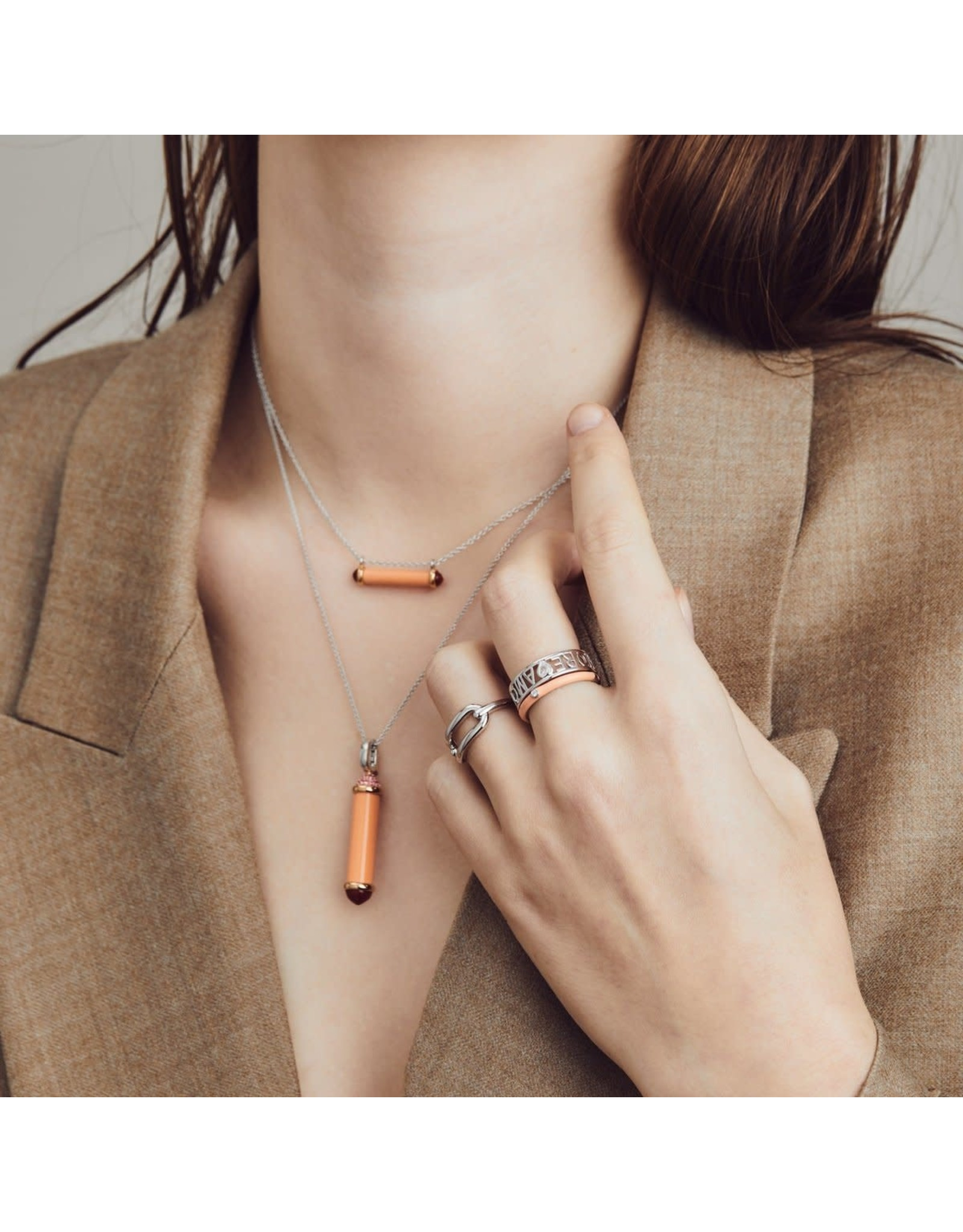 Coral Pink Capsule Necklace- 6802CP