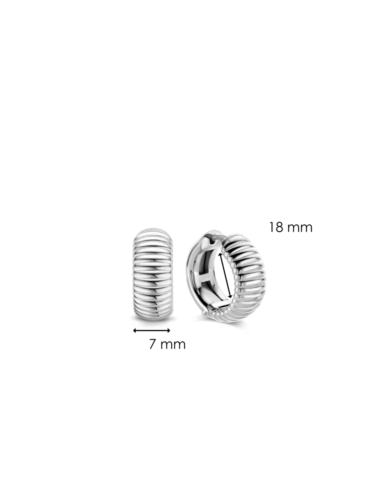 Chunky Ribbed Design Silver Huggie Earrings- 7840SI