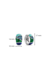 Chunky Silver Blue and Green Patchwork Huggies- 7842TQ