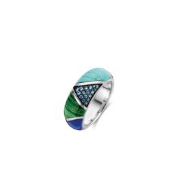 Chunky Silver Blue and Green Patchwork Ring