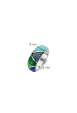 Chunky Silver Blue and Green Patchwork Ring-12226TQ/58