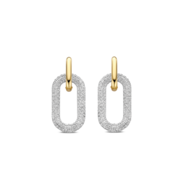 Pave Zirconia Chain Link Dangle Earrings