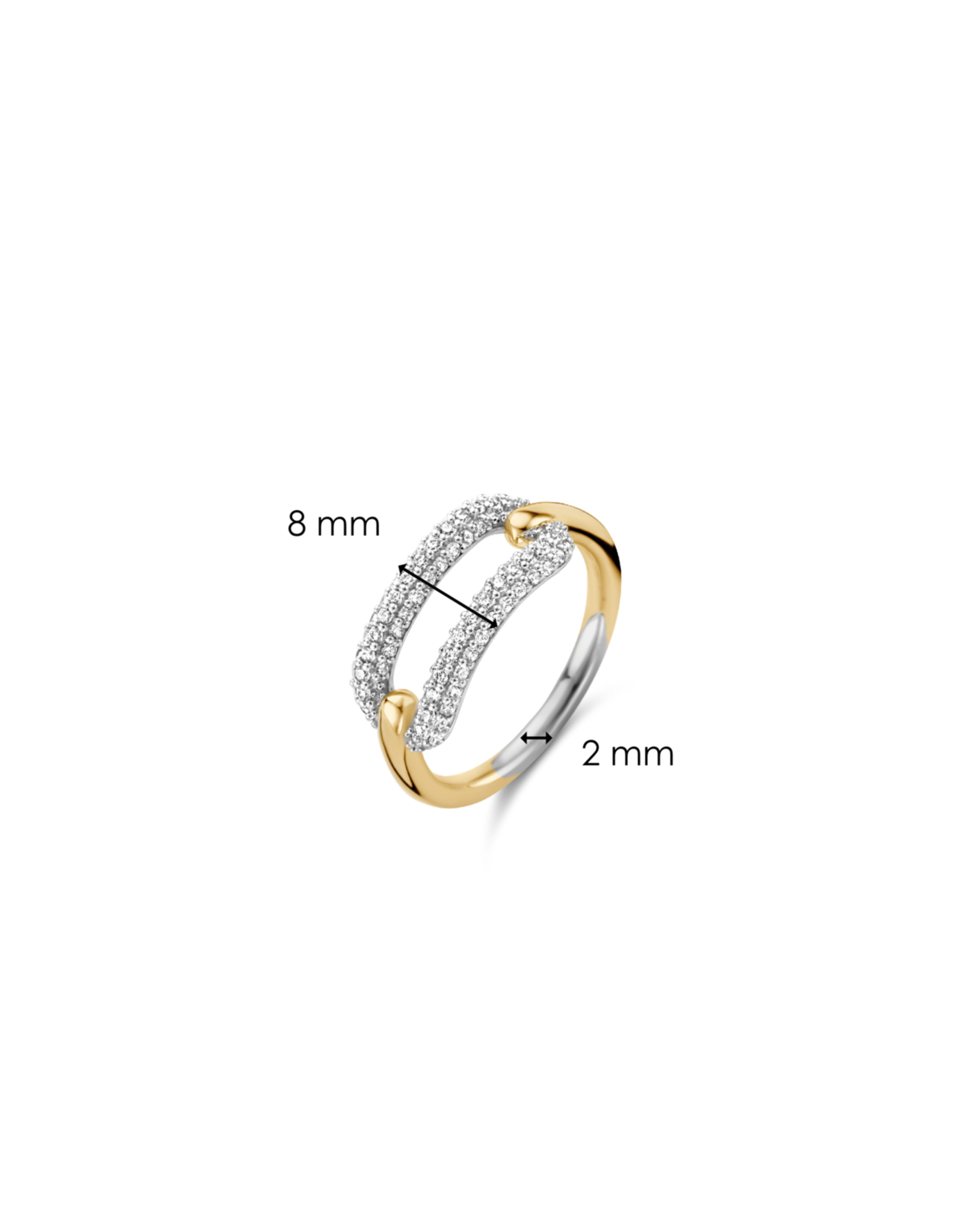 Pave Zirconia Chain Link Ring with Yellow Gold Plating- 12228ZY/58