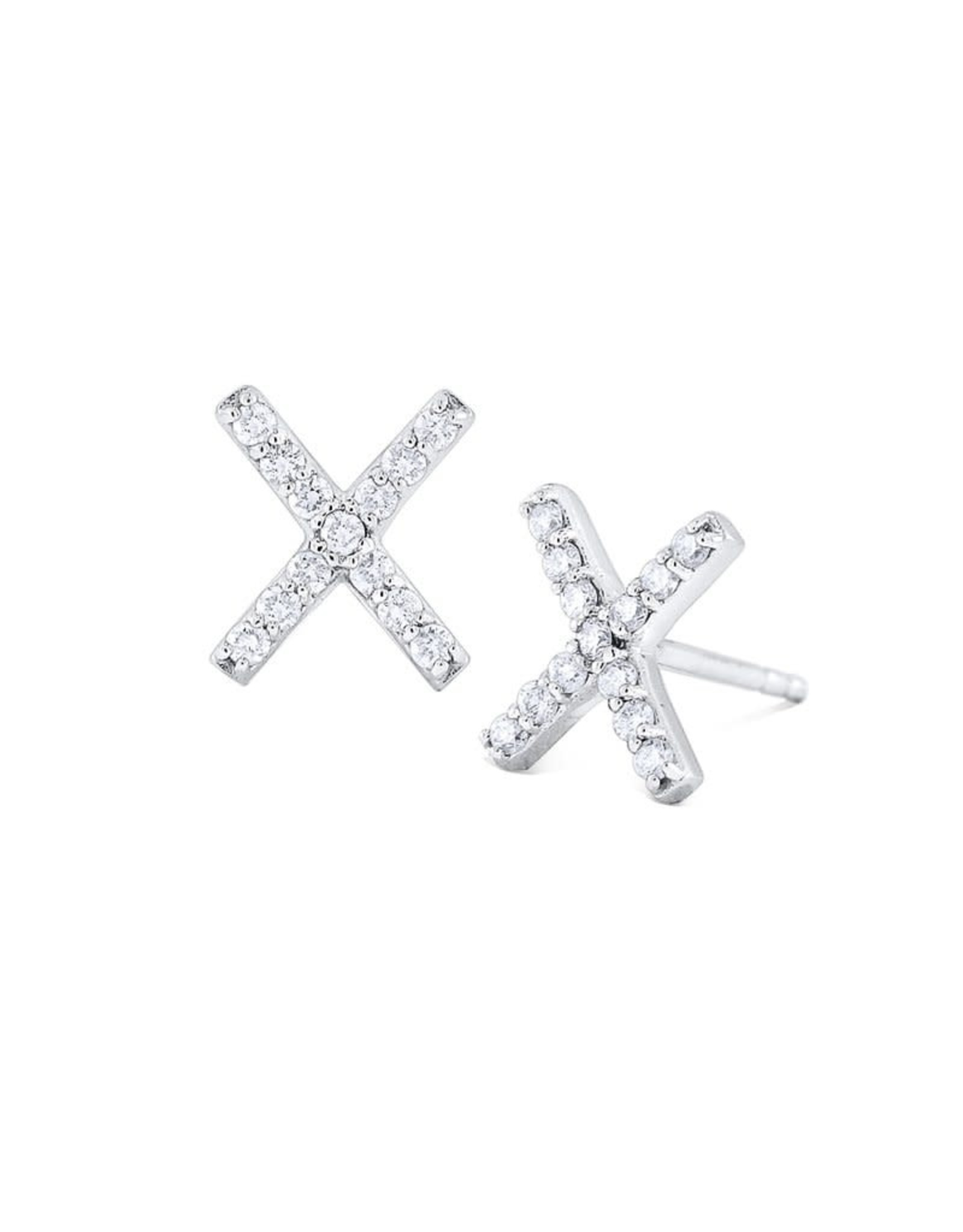 """14K White Gold  Diamond """"X"""" Marks the Spot Earrings, D:  0.96ct"""