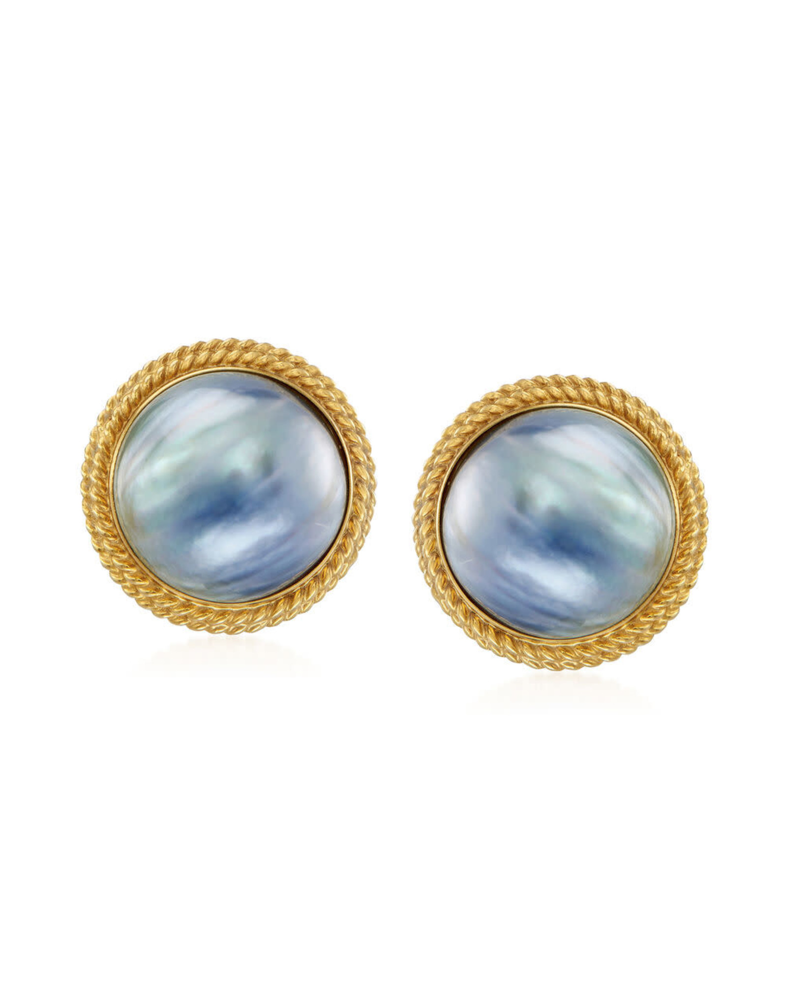 16mm Mabe Black Pearl Earrings with Omega Backs