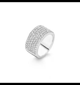Glistening Six Row Pave Zirconia Fashion Ring