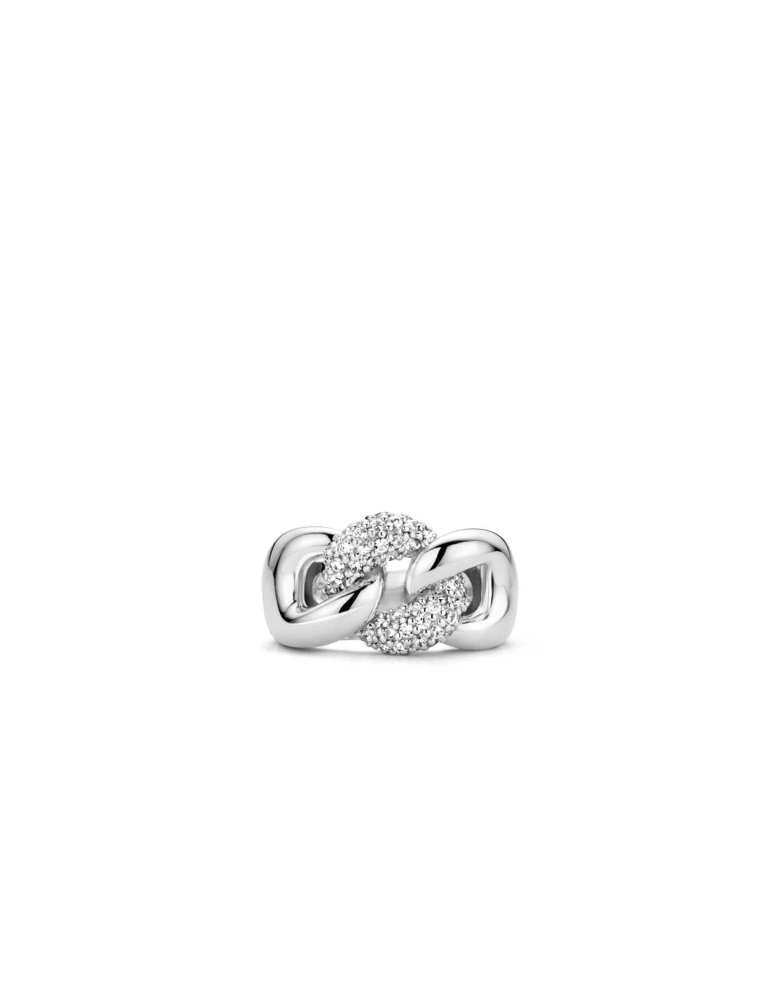 Silver Miami Cuban Link Ring with Pave Zirconias- 1587ZI