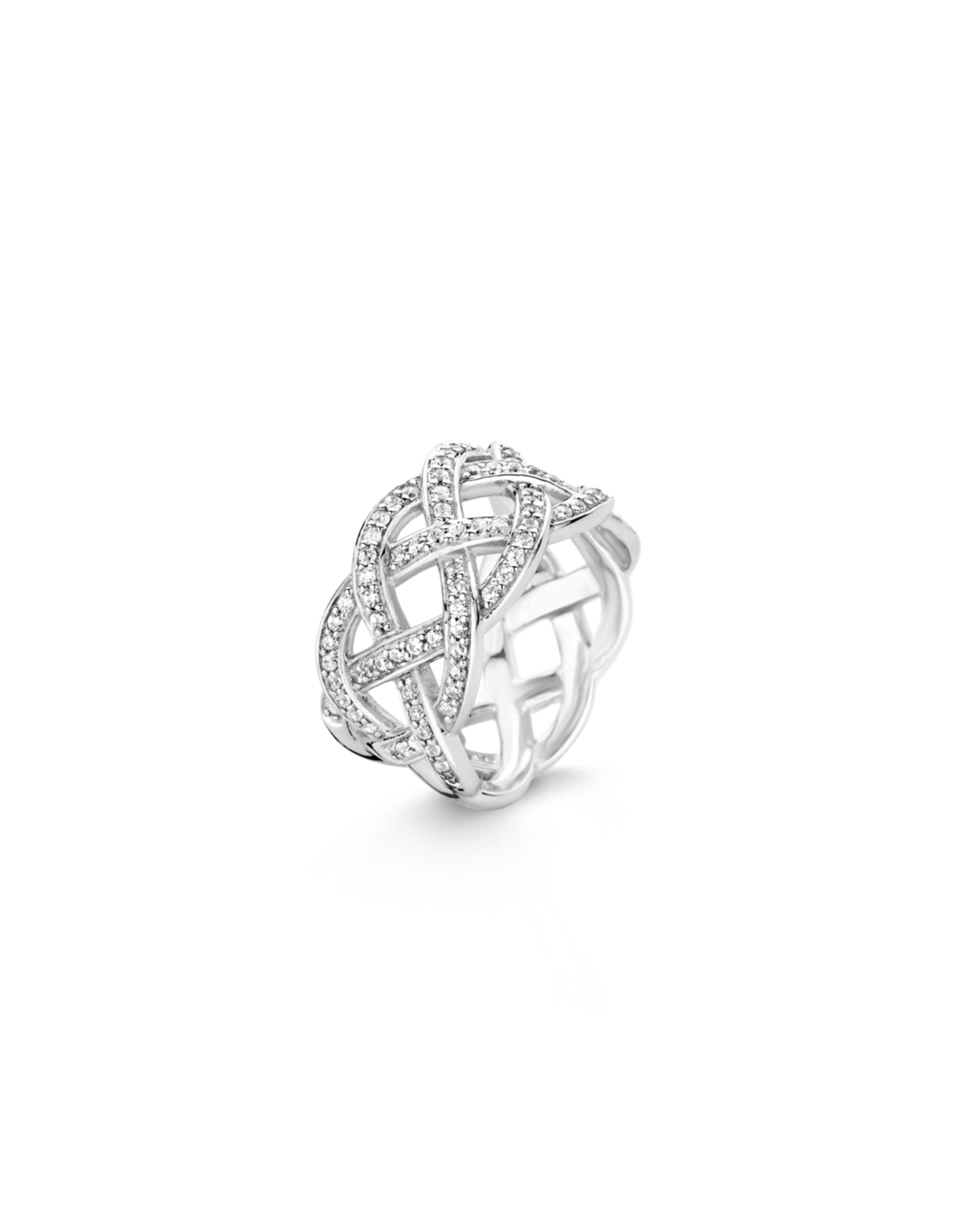 Silver Interlaced Ring with Zirconias - 12026ZI/56