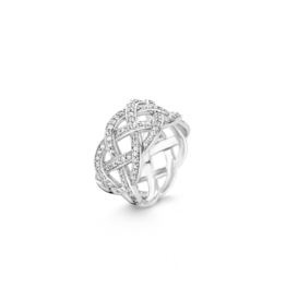 Silver Interlaced Ring with Zirconias