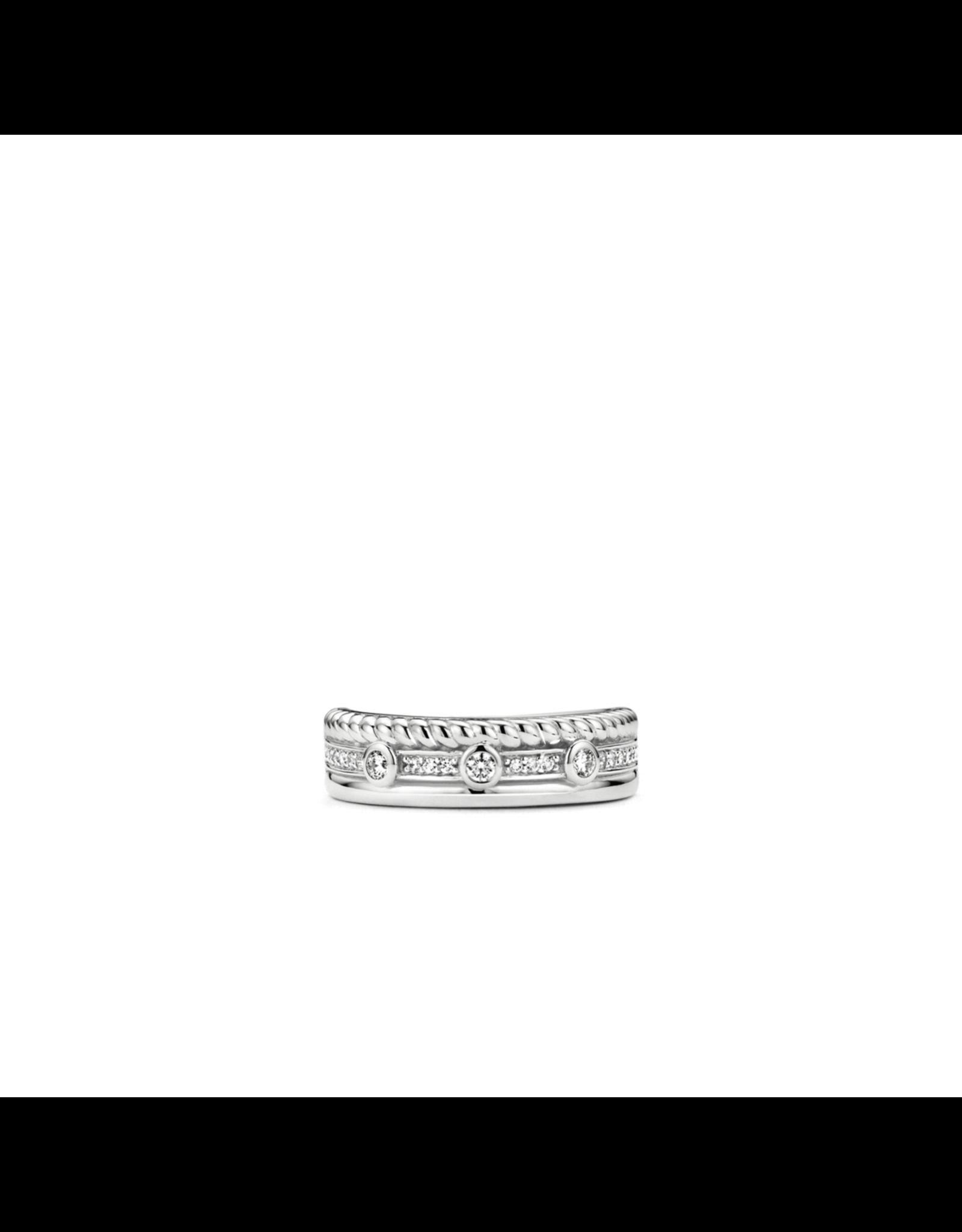 Triple Row Multi Textured Ti Sento Ring-  12024ZI/58