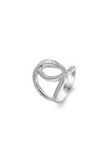 Silver Open Twisted Ring with Zirconias -  1955ZI/48