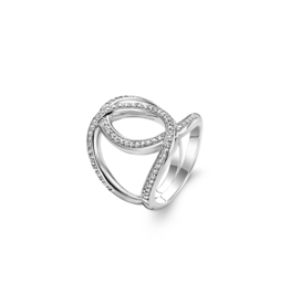 Silver Open Twisted Ring with Zirconias