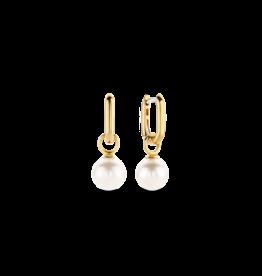 Yellow Gold Plated Pearl Dangle Earrings