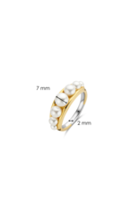 Yellow Plated Graduated Pearl Ring- 12232PW