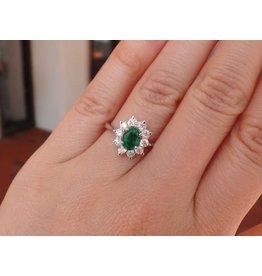 14K W/G Emerald and Diamond Ring