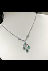 18K White Gold Elegant Emerald and Diamond Necklace, E: 0.88ct, D: 1.36ct